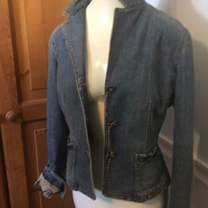 Elie Tahiti silk lined embellished Denim jacket M